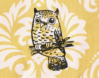 Owl Stamp: Wood Mounted Bird Rubber Stamp