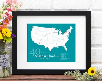 Personalized US Map, Anniversary Gift Paper, Custom Map Print, Personalized Anniversary Map, Wedding Decor, Gift for Her - Art Print