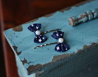 Petite Blue Star Spangled Bows Bobby Pin Set, Pair, Hair Accessories