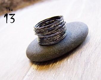 Sterling Silver Stack Ring Set, Thirteen Ring Stack, The 13, Sterling Silver Stack Ring Set, Knuckle Rings, Halloween Rings