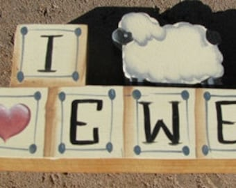 Country Crafts Hand Painted 712 E Sheep Block I Love Ewe