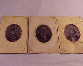 3 Small Vintage Tin Type Photographs