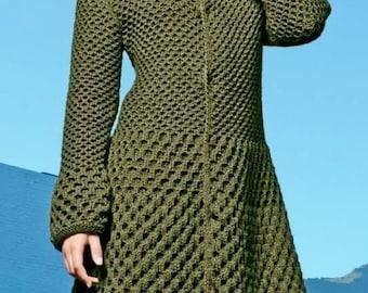 Ladies Long Honeycomb Coat, Jacket, Plus Sizes, Knitting Pattern. PDF Instant Download.