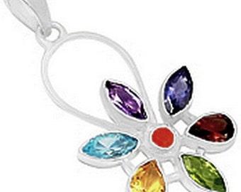Jewelry 7 CHAKRA pendant chakra flower jewel for reiki Crystal healing balancing av15.1