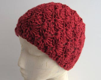 Wide Winter Headband - Red Earwarmer - Red Crochet Knit Ski Headband