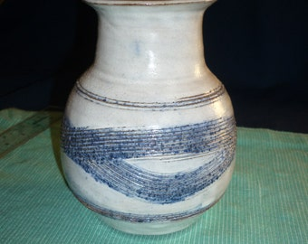 Pottery Vase, white with blue stain