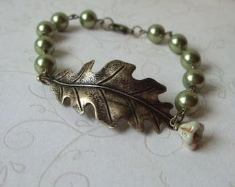 Oak Leaf Bracelet, Green Pearls, Antiqued Brass, Botanical Jewelry