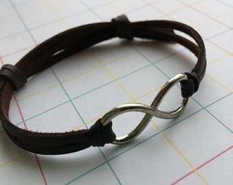 Adjutable Infinity leather bracelet for Him Men's jewelry Silver Infinity charm Leather jewelry Gift for Him Friendship bracelet