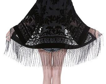 Gypsy Dreaming Floral Brocade Velvet Burnout Fringe Kimono - Black