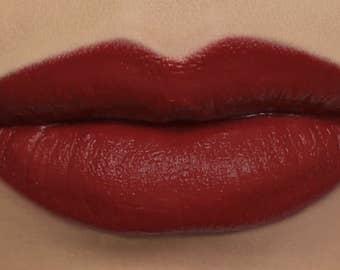 """Matte Lipstick - """"Deathcap"""" red vegan lipstick - natural organic mineral makeup"""