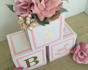 Baby girl baby shower decorations, baby shower centerpieces, alphabet blocks