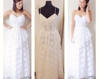 Boho Wedding Dress, Bohemian Wedding Dress, Lace Wedding Dress, Festival Wedding Dress, Peplum, 1970s, Summer Bride Ethereal Destination