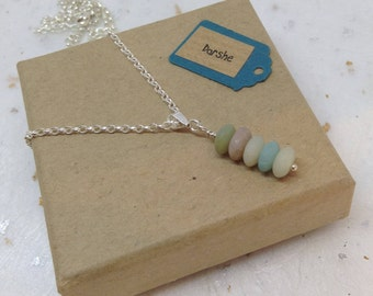 Amazonite Bead Necklace, Amazonite Necklace, Green Necklace, Gemstone Necklace, Sterling Silver Necklace