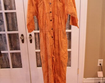 1970's Orange DVF Jumpsuit with Ancient Ruins Patterns