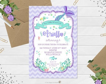 Mermaid Invitation, Personalized, Printable, 1st Birthday Party, Invites, Digital Print, Pool Party, Under the Sea, Girls Party, Purple