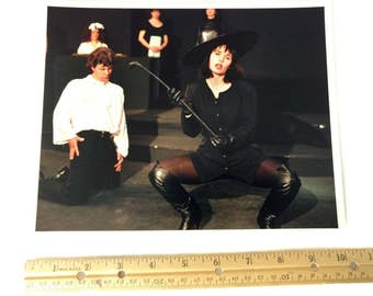 Photo of Witch Theatrical Alix Jeffry Theatre Play Witch on Stage Off Broadway Musical Black Costume 8x10 Glossy Photo Dominatrix Whip Witch