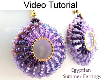 Beaded Earrings Video Tutorial Pattern Beading Jewelry Making Instructions Direction Stitch Beads Circular Beadweaving Beadwoven #9586