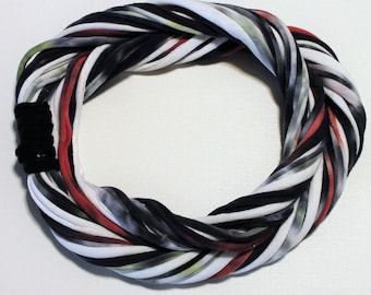 T Shirt Scarf - Infinity Circle Scarves Recycled Cotton - Black White Gray Grey Red Yellow Tie Dye Dyed Necklace