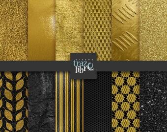 GOLD BLACK DIGITAL Paper: Digital download, digital clip art, gold paper, digital gold, scrapbook paper, gold black paper, digital clipart