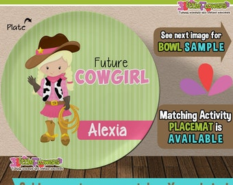 Future Cowgirl Plate and Bowl Set - Personalized Plastic Children Plate Cereal Bowl - CHOOSE HAIR SKIN color - Career Plate Set
