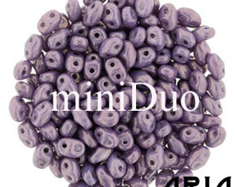 CHALK VEGA: MiniDuo Two-Hole Czech Glass Seed Beads, 2x4mm (10 grams)