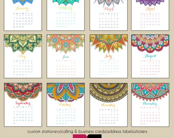 2018 Desk Calendar - Colorful Mandalas with Clear Case