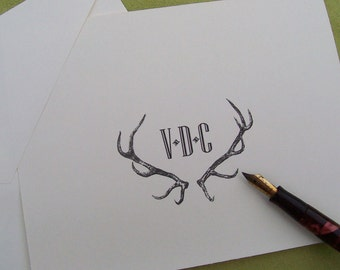 Personalized Antlers Monogrammed Stag, Elk Deer Note Cards Vintage Inspired Stationery Woodland Forest Lodge Mountain Ivory Set of 10 Rustic