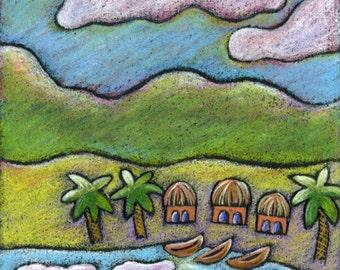 WINDY DAY Art Print,Island Art,Volcanic Island,Ocean Waves,Cloudy Skies,Canoe,Kayak,Palm Trees,Beach House Art,Kids Room Art,Island Village