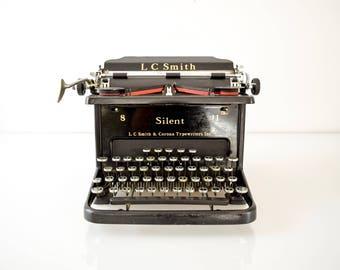 Antique Typewriter, Antique L.C. Smith & Corona Silent Black Manual Typewriter, Art Deco, 1930s