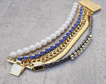 Chunky Bracelet, Crystal Bracelet, Statement Bracelet, Blue, Bracelets for Women, beaded bracelet, Boho Bracelet, Gold Bracelet