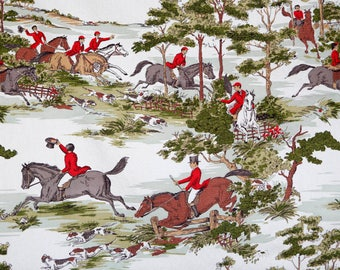 Vintage barkcloth fabric w horseback riding horses dogs english red riding attire - horses jumping fences Roomaker 50's equestrian