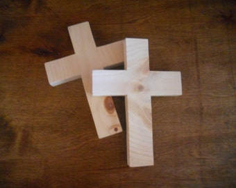 Unfinished Wood Cross, Pine, Sanded, Ready For Paint or Stain
