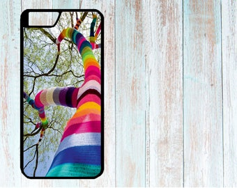Case for iPhone, cover for iPhone, Custom made case for iPhone 4/4S/5/5S/5C/6/6S/6+/6S+/7/7S/7+/7S+/8/8+/X, Knitted Tree Multicolor, Yarn