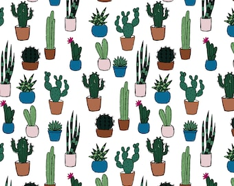 Cacti and succulents, seamless pattern, scrapbooking, digital paper, background, 12x12 inches, cactus