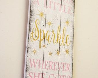 She Leaves A Little Sparkle Wherever She Goes Pallet Sign Girls Nursery Wall Decor Shabby Chic Nursery Vintage Nursery Pink and Gold Nursery