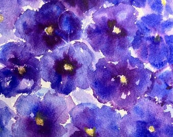 GAYLE'S BLUE PANSIES Limited Edition Watercolor Print by Victoria Anderson