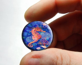 Seahorse Glass Cab Cabochon 25mm 20mm 16mm 14mm 12mm 10mm or 8mm - Design 7  - for Jewelry and Pendant Making