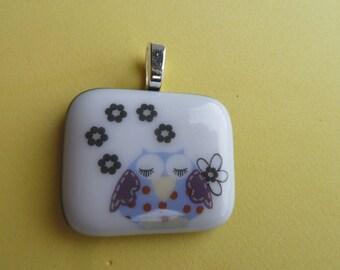 Fused Glass Picture Pendant Sleepy Owl  Print Handmade on Blue Base