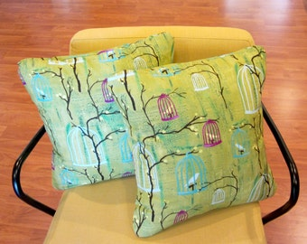 Retro Mid Century Atomic Style Painted Birdcage Pillow Covers, Hand Made by Tiki Queen