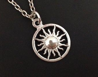 Sun necklace - silver sun charm - sunshine necklace - love - best friend - friendship - birthday gift