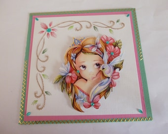"201888 embroidered card ""girl and bird"""