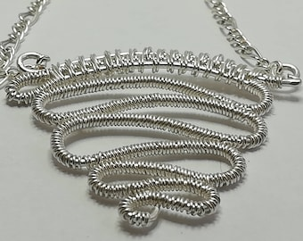 Silver wire wrapped / wire woven pendant necklace