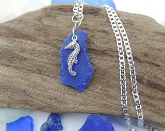 Cobalt Blue Sea Glass Pendant with Sterling Silver Seahorse, Authentic Sea Glass