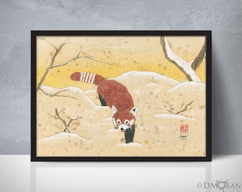 Red Panda in the Snow - sumi-e watercolor painting - 5x7 (Print)