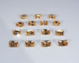 Champagne Octagon Princess Cut SIZE CHOICE Loose Cubic Zirconia Gemstones