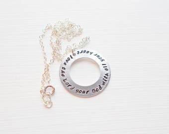 Hand Stamped Aluminum Round Washer Pendant Necklace with Inspirational Quote Love The Lord Your God With All Your Heart