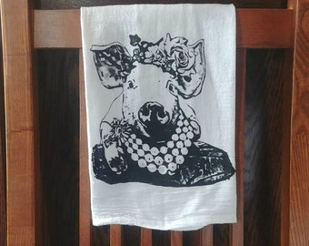 Farmhouse Flour Sack Towel Pippy the Pig Custom Screen Print