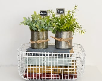 Two Pots of Faux Herbs in Galvanized Pots; Herbs with Garden Signs;  Kitchen Decor; Parsley, Sage, Rosemary, Thyme, Mint, and Oregano