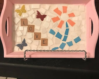 """Mosaic Wooden Pink Tray with """"Love"""" design"""