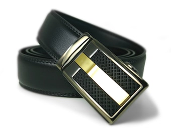 "Automatic Belt Buckle Genuine Leather Belt for Wedding Grooms or Best Man Gift ""Comely"""